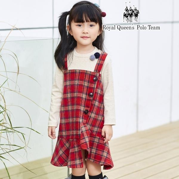小童假兩件式背心裙 格紋連身洋裝 [85035]  RQ POLO 秋冬童裝