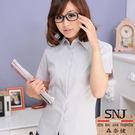 【S-14A】森奈健-簡約時尚OL吸濕排汗短袖女襯衫(淺灰條紋)