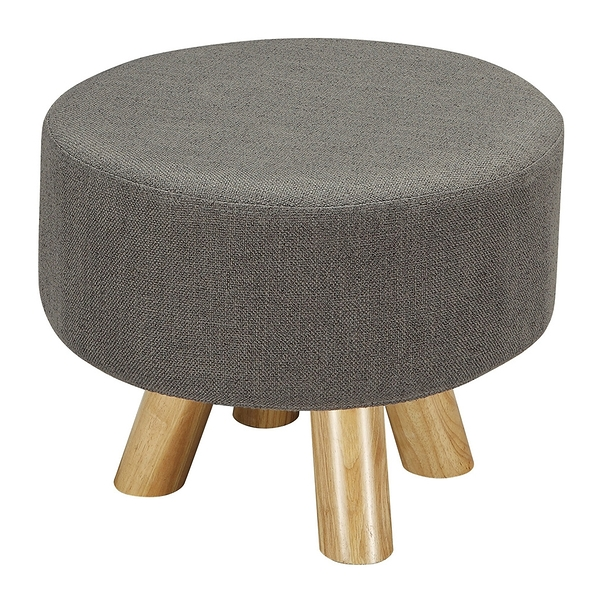 【森可家居】強尼灰色圓凳 8ZX560-9 麻布椅凳 實木腳 北歐風