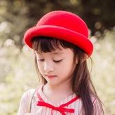 2019新款兒童帽子女童秋冬寶寶毛呢帽子男孩丸子帽羊毛親子禮帽潮