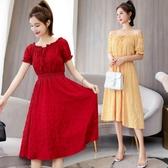 雪紡洋裝2020夏季新款連身裙燈籠袖收腰顯瘦氣質很仙的短袖時尚雪紡連身裙 suger