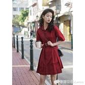 年夏裝女新款學生收腰顯瘦法式復古紅色POLO氣質襯衫洋裝子
