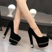 高跟鞋 促銷18/20CM恨天高性感超高跟防水臺水晶粗跟厚底演出夜店女單鞋 瑪麗蘇