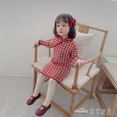 (快出)女童格子毛線旗袍唐裝禮服女寶寶長袖針織漢服裙小女孩春秋中國風