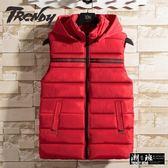 『潮段班』【HJ003245】秋冬新款保暖羽絨線條口袋造型背心外套