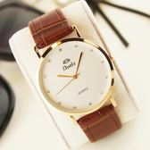 防水超薄石英手錶皮帶男錶水鑽女士錶