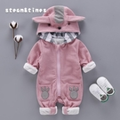 限定款嬰兒長袖兔裝 嬰兒秋季衣服連身衣男女寶寶長袖哈衣雙層保暖爬服新生兒外出服