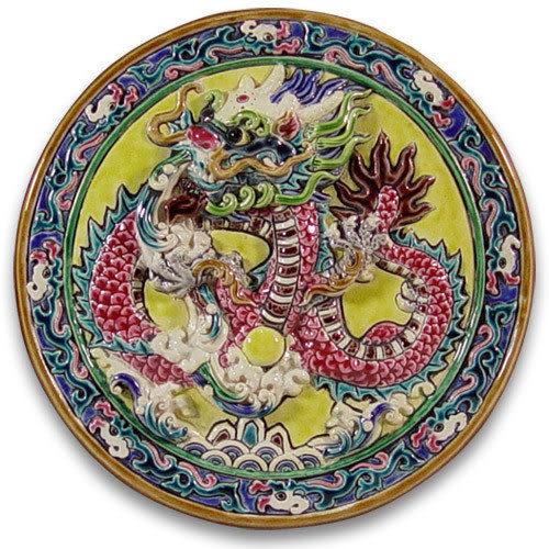 鹿港窯-交趾陶居家開運裝飾壁飾~M千禧龍