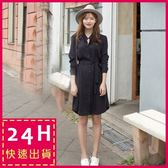 梨卡★現貨 - 韓版女神款優雅條紋襯衫長袖連身裙短裙洋裝B782