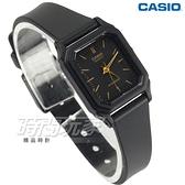 CASIO卡西歐 LQ-142-1E 簡單 輕便 小巧 運動指針錶 女錶 方形復古 黑x金 LQ-142-1EDF【時間玩家】