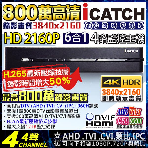 監視器 可取 H.265 800萬 4路4聲監視器主機 4路DVR 監控主機 2160P 5MP/4MP/1080P/720P/960H DTV AHD 台灣安防