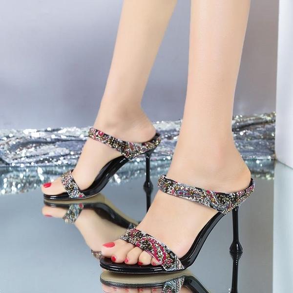 高跟涼鞋拼色一字拖夏季新款百搭露趾女鞋細跟外穿無后跟拖鞋 - 風尚3C
