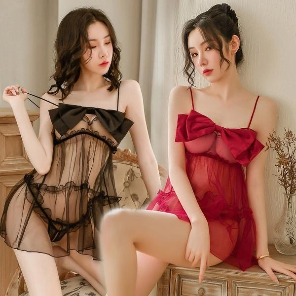 《FEE ET MOI》情趣睡衣!吊帶立體雙層蝴蝶結飄逸柔紗開襠兩件組 E531671 E531672