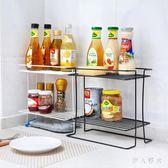 廚房置物架  鐵藝雙層調料架置物架廚房用品家用多功能落地架子收納架 ys4604『伊人雅舍』