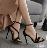 細跟涼鞋 絨面一字扣前后絆帶女涼鞋歐美夜店性感露趾12CM超高跟細跟鞋 - 古梵希鞋包