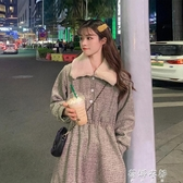 洋裝年新款冬季韓系穿搭復古中長款洋裝女收腰顯瘦A字裙子 蓓娜衣都