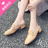 歐美時尚一字金屬造型小方頭低跟懶人拖鞋/3色/35-43碼 (RX0429-Z8-12) iRurus 路絲時尚