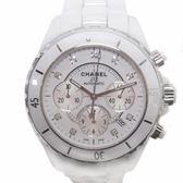 CHANEL 香奈兒 白色陶瓷鑲9P鑽三眼機械錶 J12 H2009 41mm 【二手名牌 BRAND OFF】