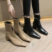 短靴半靴子女2019新款前面拉鏈倒靴潮chic百搭英倫小高跟女士粗跟短靴