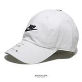 NIKE 運動帽 老帽 FUTURA WASHED CAP 白 刺繡LOGO 調整式 休閒 (布魯克林) 913011-100