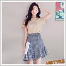 套裝 印花格紋休閒短袖短裙套裝EK913...