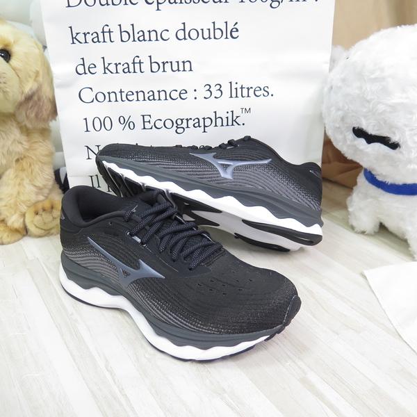 Mizuno WAVE SKY 5 女款 慢跑鞋 回彈 避震 4E楦 J1GD211252 黑【iSport愛運動】