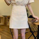 短裙夏天韩版荷叶边裙子格子百搭短裙高腰显瘦女A 字裙短裙歐歐 館
