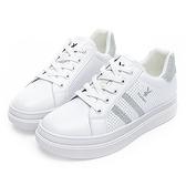 PLAYBOY 流行序曲 亮蔥條紋厚底仿皮休閒鞋-白銀(Y5819)