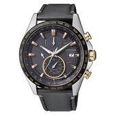 CITIZEN 星辰GENT'S 霸氣品味電波計時鈦金時尚皮帶腕錶-黑AT8158-14H