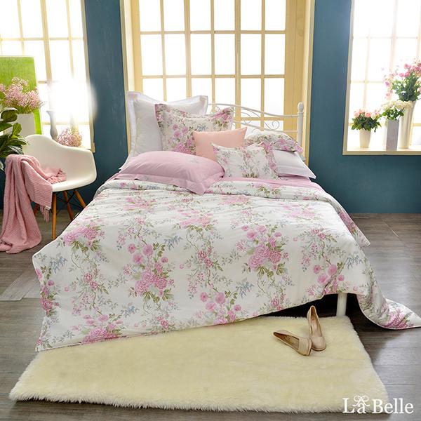 義大利La Belle《花曜薔薇》雙人純棉防蹣抗菌吸濕排汗兩用被床包組