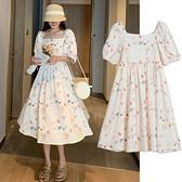 孕婦夏裝2021新款時尚碎花方領短袖孕婦連身裙減齡中長款夏季裙子 童趣屋 618狂歡