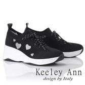 ★2019春夏★Keeley Ann時尚心機 暖心透氣增高休閒鞋(黑色)-Ann系列