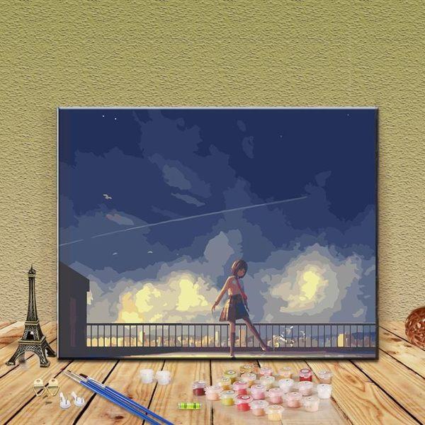 diy數字油畫 數字油畫動漫自繪填色畫客廳成人減壓手工裝飾手繪填充油彩畫 - 歐美韓