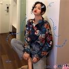 熱賣垂感襯衫 復古港風襯衣寬鬆鹽系設計感長袖花襯衫女垂感防曬外穿港味潮 coco