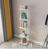 現代簡約書架窄落地 客廳一字隔板置物架 鐵藝層架臥室創意小書櫃YYJ  MOON衣櫥