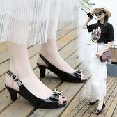 魚嘴涼鞋女粗跟2021春夏季新款簡約中跟蝴蝶結高跟鞋韓版百搭女鞋