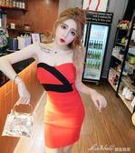 女裝性感拼色褶皺修身顯瘦包臀抹胸洋裝    蜜拉貝爾