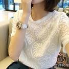 圓領短袖雪紡衫韓版大碼女重工刺繡蕾絲T恤...