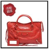 巴黎世家CLASSICGOLDCITY小羊皮金釦兩用機車包(紅色)115748全新商品
