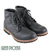 T12-19659 男款牛皮短靴  率性素面仿木質紋縫線蠟感牛皮平底短筒戰鬥靴【GREEN PHOENIX】