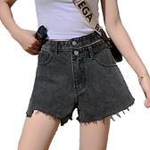 EASON SHOP(GW6079)實拍丹寧不規則剪裁毛邊抽鬚排釦瘦腰牛仔褲女高腰短褲休閒褲直筒褲寬褲A字褲藍色