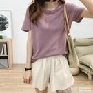 寬鬆圓領短袖T恤女夏韓版百搭顯瘦簡約純色...