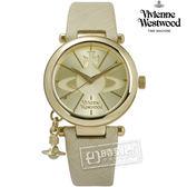 Vivienne Westwood / VV006GDCM / 雅典高貴立體墜飾細緻真皮手錶 金x奶茶 32mm