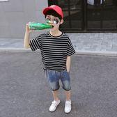 童裝男童短袖t恤條紋夏裝2018新款兒童半袖體恤大童夏天上衣韓版