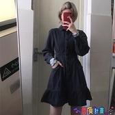 牛仔洋裝 牛仔連身裙女秋冬季2021新款韓風復古時髦甜酷荷葉邊收腰顯瘦裙子 寶貝計畫