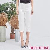 Red House 蕾赫斯-花邊七分褲(白色)