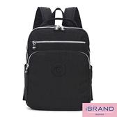 iBrand後背包 輕盈防潑水素色雙拉鍊尼龍後背包-黑色 MDS-8612