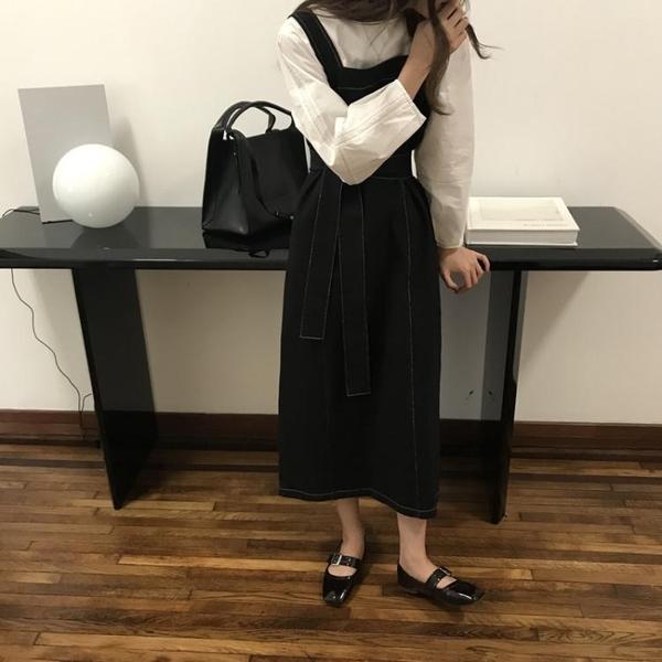 背帶裙韓版素色寬鬆休閒百搭綁帶裙設計感背帶裙連身裙女新品