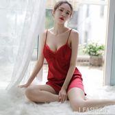 性感睡裙女夏火辣成人冰絲吊帶胸墊性感睡衣情調衣人大碼情趣內衣-ifashion