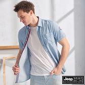 【JEEP】經典直條紋短袖襯衫(淺藍)